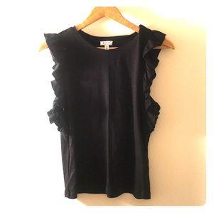 Black Ruffle Sleeve Top